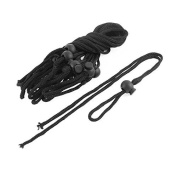 DealMux Backpack Cord Lock Ends Buckle Clip Pull String Lanyard 10pcs Black