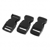 DealMux Flat Side Release Buckles 2cm Webbing Strap 3Pcs Black