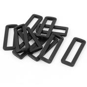DealMux Plastic Bag Bar Slides Buckles 10 Pcs Black for 50mm Webbing Strap