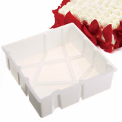 Cake Mould,Auykoop Silicone 3D Geometric Simplicity Dessert Mousse Chocolate Baking Pan Tools Pastry Art White
