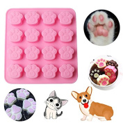 Cookie Mould-Auykoop 16 Holes Cute Pet Cat Dog Paws Mould Silicone Cookie Chocolate Mould