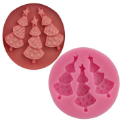 Souarts Pink Christmas Tree Candy Cake Mould 5.6*5.6*0.9cm