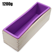 1200g Rectangle Silicone Soap Loaf Mould Wooden Box with Silicone Liner DIY Making Loaf Swirl Soap Cooking Tools by Clest F & H