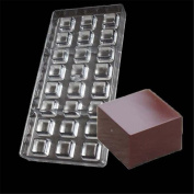 VAK 24 Cavities Square Chocolate Mould Polycarbonate Candy Tray Jelly Mould Hard Injection PC Chocolate Baking Moulds Bakeware Pan - 27.5x13.5x2.4cm