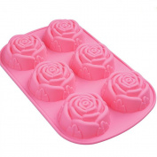 Welim Cake Mould Silicone Mould DIY Cake Mould Biscuit Mould Chocolate Mould Suitable for chocolate cakes and biscuits Six lattice pink rose type