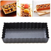 Rectangle Tart Pie Pan,Auykoop Fluted Pie Tart Pan Mould Baking Nonstick Removable Bottom Quiche Tool Bakeware Dishes Cake Pans