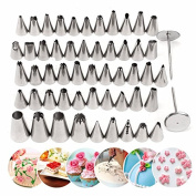 Inovey 52Pcs Stainless Steel Icing Piping Nozzles Pastry Tips Fondant Cake Sugarcraft Decorating Tool