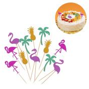 LUOEM Cupcake Toppers Cake Tooper Flamingo Pineapple Coconut Tree Cake Picks for Birthday Baby Shower Wedding Hawaii Luau Beach Party Decorations 12pcs