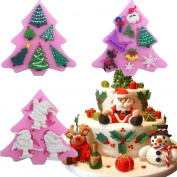 3PCS Silicone Cake Moulds Christmas Tree Santa Shape Fondant Chocolate Moulds Baking DIY Decoration Tools