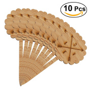 ROSENICE 10pcs Wooden Cupcake Toppers Decorative Cupcake Picks for Birthday Party Decoration