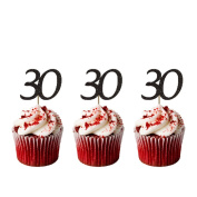 Number 30 Cupcake Toppers - Glittery Black