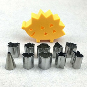 Baking Cookie Mould-Auykoop Hedgehog Design 10pcs/lot Mini Stainless Steel Mould Fruit Cutter Cookie Biscuit Ham Cooking Tools