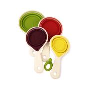 4Pcs measuring spoon, silicone folding design, safe, non-toxic, tasteless, portable and compact