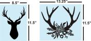 Deer Buck Head Floral Flowers STENCIL, Reusable, Sturdy, 2 Bundle