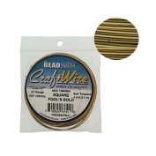 Square Wire Fools Gold 22 Gauge by Beadsmith 4 yards Permanently Coloured Non-Tarnish Wire