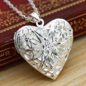 New_Lovely_Woman_Silver_Picture_Locket_Hollow_Heart_Photo_Pendant_Chain_Necklace FGHTRN# Necklace Pendant ear heart silver chain locket