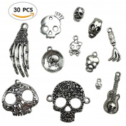 30PCS Assorted DIY Antique Skull Skeleton Punk Steampunk Charms Pendant Bulk for Jewellery Making by ZXSWEET