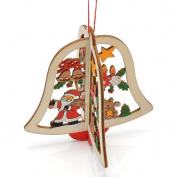 TraveT Star Bells Tree Pendants Hanging Wooden Christmas Decoration Home Party Decor