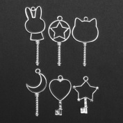 Jeteven Jewellery Frame Charm 6pcs Metal DIY Jewellery Pendant Key Chain Bracelet Necklace Making Finding Kit with Hanging Hole Silver