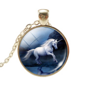 VWH Women Girls Unicorn Pendant Necklace Jewellery Gift, Night Unicorn