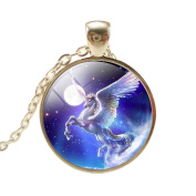 VWH Women Girls Unicorn Pendant Necklace Jewellery Gift, Moon