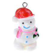 Ioffersuper 1 Pcs 3D Christmas Charm Pendant Resin Pendant Beads,Red Snowman