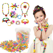 500 Pcs Pop Beads Set with Storage Box,XFee Creative DIY Jewellery Kit for Headwear Necklace Earrings Bracelets Rings , Idea Art Crafts Gift Toys for Kids Toddlers Girls