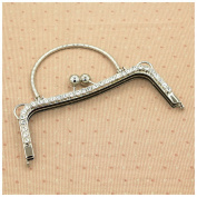 Ownstyle 20cm Metal Purse Frame With Handle Crystal On Surface Fashion Nice Metal Bag Hanger Purse Frame DIY Accessories Wholesale Handle Silver