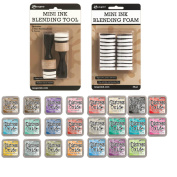 Mini Ink Blending Tool with Replacement Foams by Ranger - 23 Distress Oxides Ink Pads - Perfect Set for Applying Ink