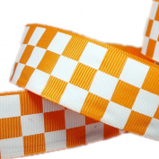 25yd 2.5cm Orange Solid Grosgrain Ribbon White Race Checkerboard Pattern Printed Halloween Decrative