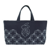 Comolife Made in Japan SASHIKO Lovely Rabbit Mini Tote Bag Needlework Kit , Finished Size : L 8.66 x W 16.53 x G 10cm