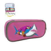 Fymanlu Lazy Sloth Riding Shark Big Capacity Pencil Case Bag Portable Stylish Nylon Pen Cases
