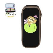 Fymanlu Coconut Cocktail Sloth Big Capacity Pencil Case Bag Portable Stylish Nylon Pen Cases