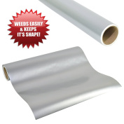 WEEDS EASILY SILVER GLOSSY ADHESIVE VINYL 30cm X 2.4m ROLL of Non-Stretchy, Made in USA for Cricut, Silhouette Cameo, Oracal Vinyl Cutters, Printers, Letters, Decals, Signs by Angel Crafts