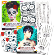 Day of the Dead Sugar Skull Ultimate Temporary Tattoo Set -- Face, Arms, Hands and Chest Tattoo Kits