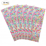 3024 PCS, 6 Sheets Multicolor Self-Adhesive Rhinestone Sticker Sheet Crystal Diamond Bling Craft Jewels Gem, 6 mm by ZXSWEET