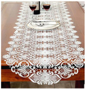 WSHINE Embroidered Lace Table Runner Dresser Scarf Wedding Party Home Decor Art, White (5050 cm