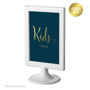 Andaz Press Framed Wedding Party Signs, Navy Blue with Metallic Gold Ink, 10cm x 15cm , Kids Table Sign, Double-Sided, 1-Pack
