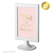 Andaz Press Framed Wedding Party Signs, Blush Pink with Metallic Gold Ink, 10cm x 15cm , Choose a Seat, Not a Side, We're all Family Once the Knot is Tied, Double-Sided, 1-Pack