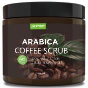 Cosprof Coffee Body Scrub - Best Exfoliator Sea Salt Olive Oil & Shea Butter - Acne Treatment Exfoliate Moisturise Tone & Reduce Cellulite Premium Nature