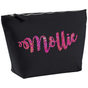 Mollie Personalised Name Cotton Canvas Black Make Up with a Holographic Pink Print Accessory Bag Wash Bag Size 14x20cm. The perfect personalised Gift for All occasion, Christmas, Birthdays,
