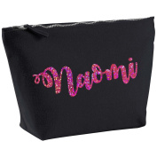Naomi Personalised Name Cotton Canvas Black Make Up with a Holographic Pink Print Accessory Bag Wash Bag Size 14x20cm. The perfect personalised Gift for All occasion, Christmas, Birthdays,