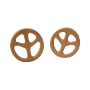 Laymily 2pcs Organic Wooden Baby Teether Toy Montessori Peace sign Teether Natural Unfinished Beech Baby Perfect shower Gift
