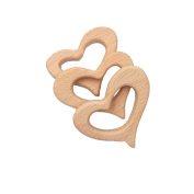 Laymily 3pcs Organic Wooden Baby Teether Toy Montessori Peach heart Teether Natural Unfinished Beech Baby Perfect shower Gift