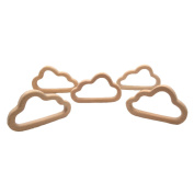 Laymily 5pcs Organic Wooden Baby Teether Toy Montessori Oblique cloud Teether Natural Unfinished Beech Baby Perfect shower Gift