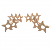 Laymily 10pcs Organic Wooden Baby Teether Toy Montessori Starfish Teether Natural Unfinished Beech Baby Perfect shower Gift