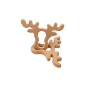 Laymily 2pcs Organic Wooden Baby Teether Toy Montessori Antlers Teether Natural Unfinished Beech Baby Perfect shower Gift