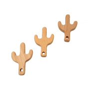 Laymily 3pcs Organic Wooden Baby Teether Toy Montessori Cactus Teether Natural Unfinished Beech Baby Perfect shower Gift
