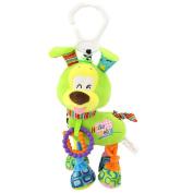Lanlan Plush Dog Toy Infant Animal Soft Rattles Bed Crib Stroller Music Hanging Bell Toy Dog Cute Kids Stuffed Toys Children Dolls Green