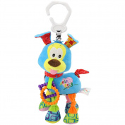 Lanlan Plush Dog Toy Infant Animal Soft Rattles Bed Crib Stroller Music Hanging Bell Toy Dog Cute Kids Stuffed Toys Children Dolls Blue